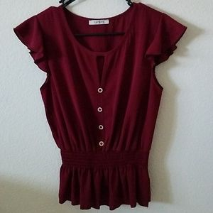 Red Smock-Waisted Blouse